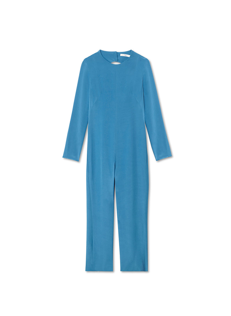 Silk Jumpsuit with Fringe Sky Blue-6
