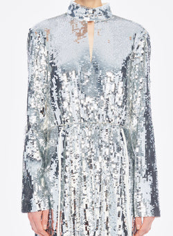 Sequin Dress Ivory/Silver Multi-5