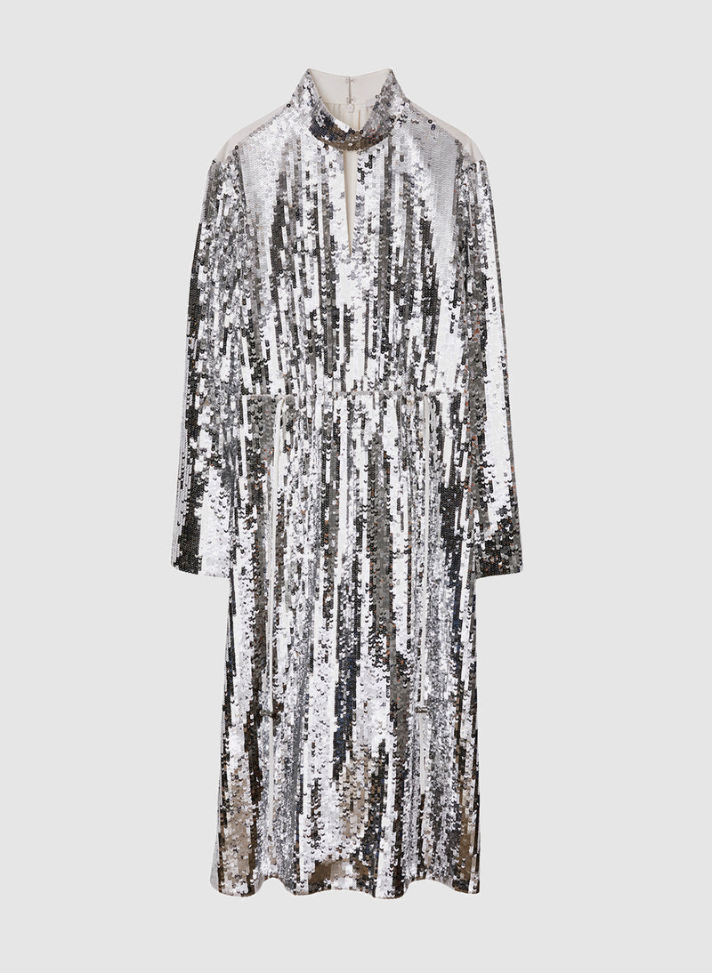 Sequin Dress Ivory/Silver Multi-8