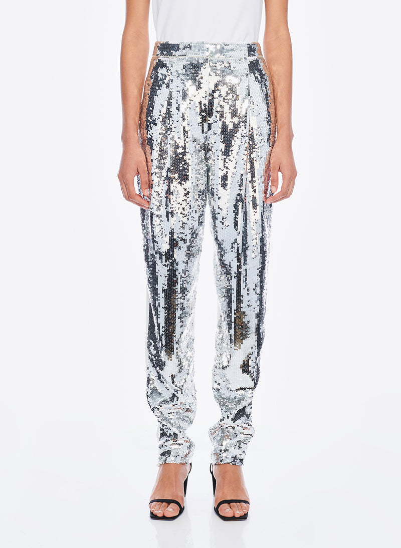 Sequin Pant Ivory/Silver Multi-1