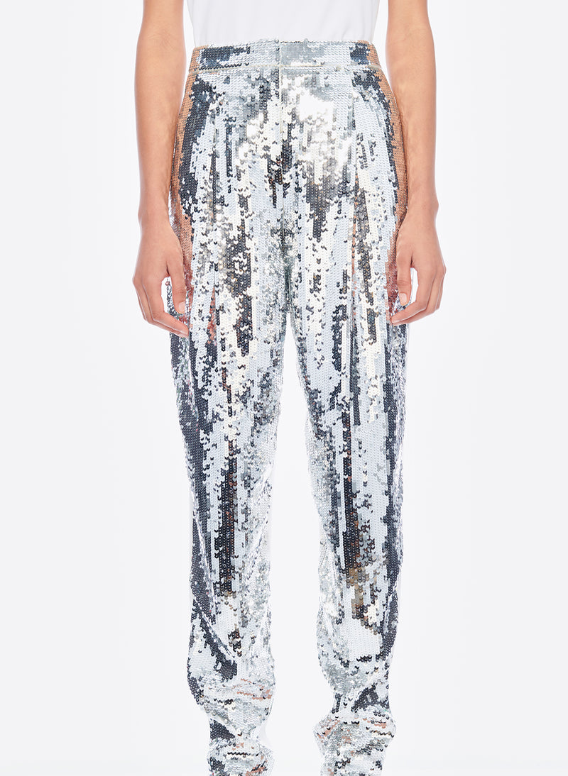 Sequin Pant Ivory/Silver Multi-5