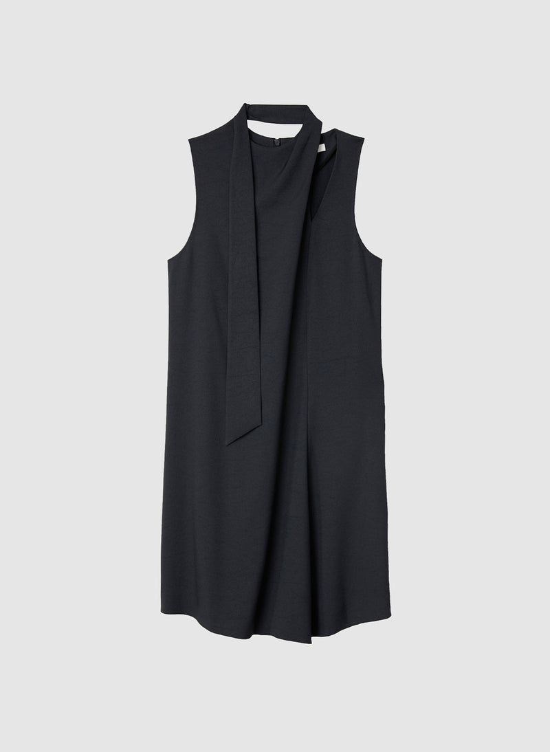 Chalky Drape Pleat Neck Shift Dress Black-8
