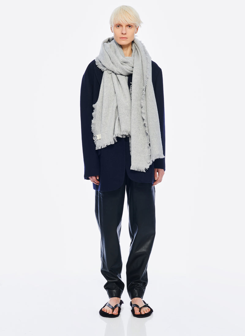 Fringe Scarf Heather Grey-2