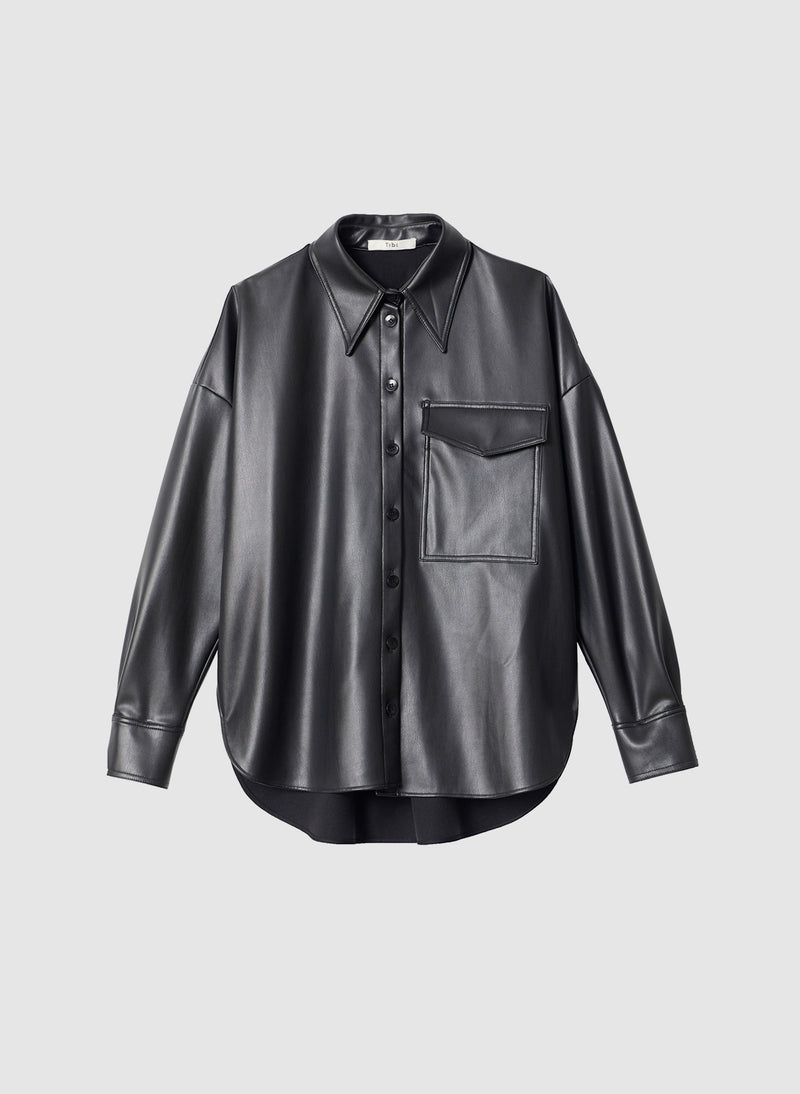 Faux Leather Utility Blouse Black-8