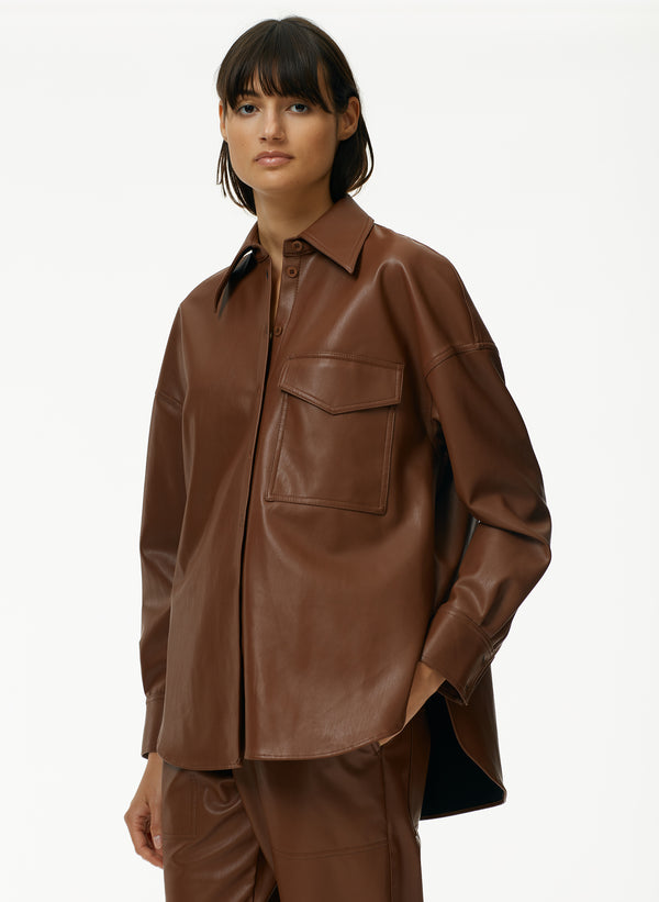 Faux Leather Utility Blouse