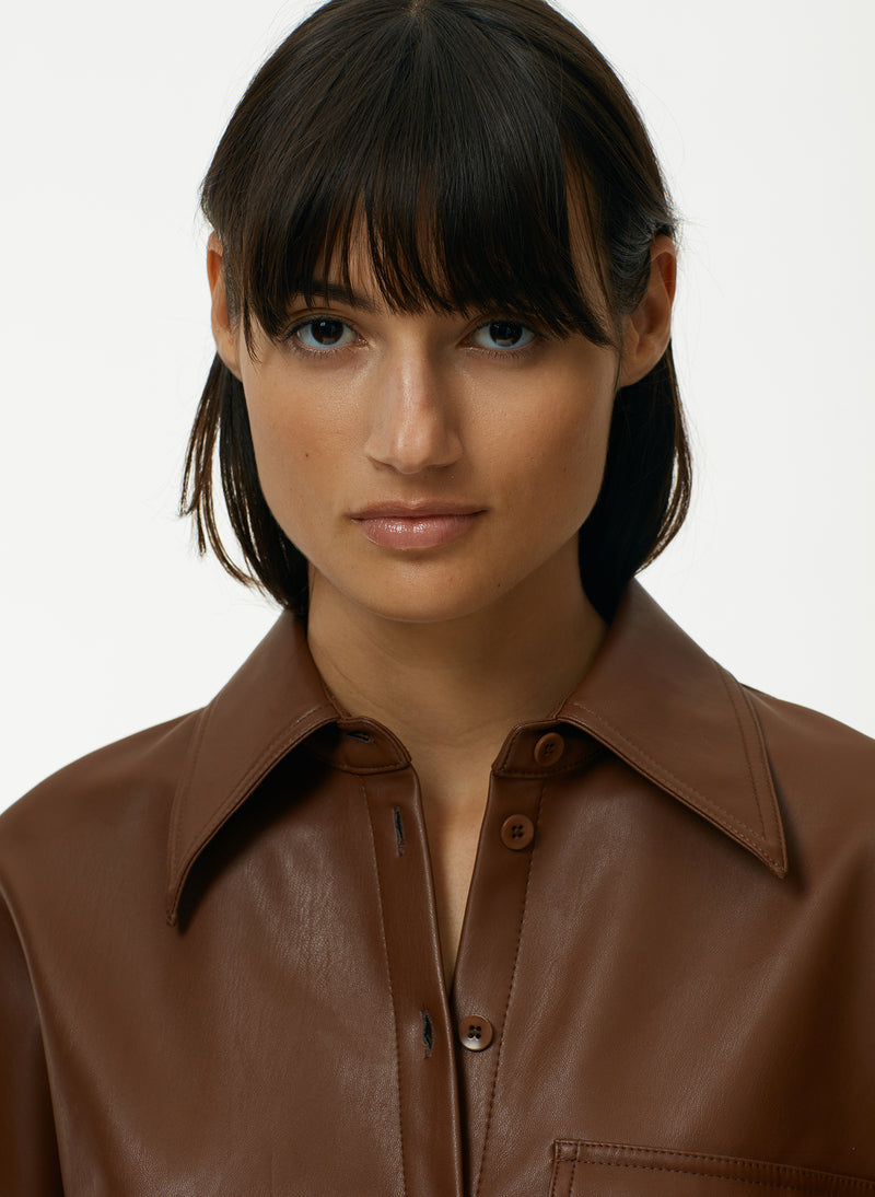 Faux Leather Utility Blouse Faux Leather Utility Blouse