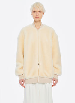 Luxe Faux Fur Track Jacket Cream-1