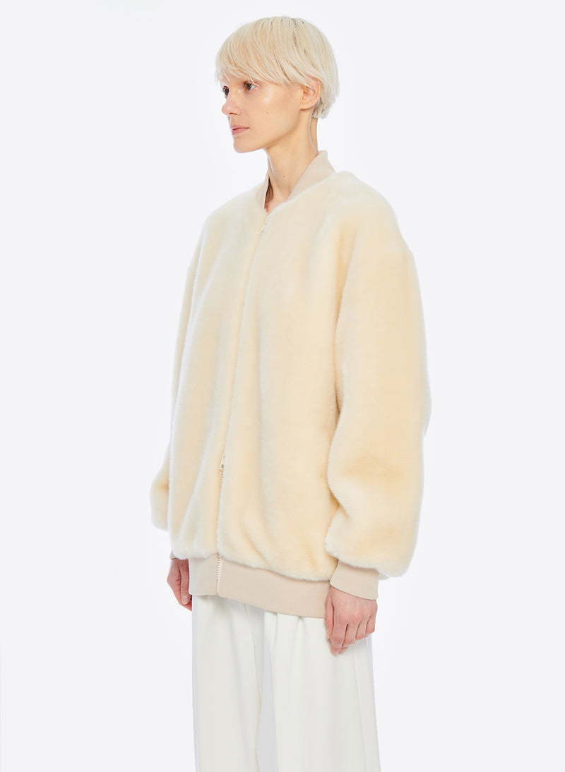 Luxe Faux Fur Track Jacket Cream-2