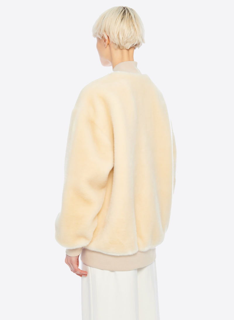 Luxe Faux Fur Track Jacket Cream-4
