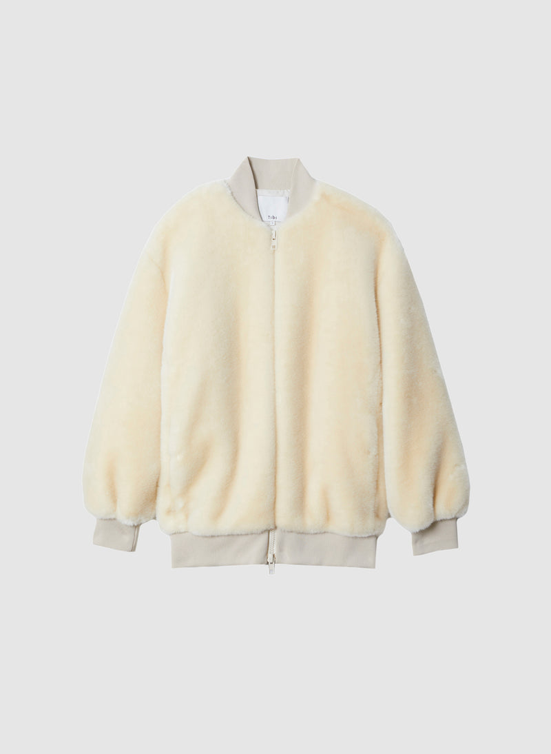 Luxe Faux Fur Track Jacket Cream-8