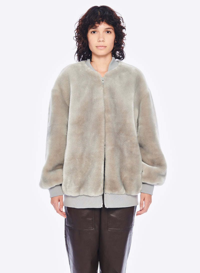 Luxe Faux Fur Track Jacket Grey-1