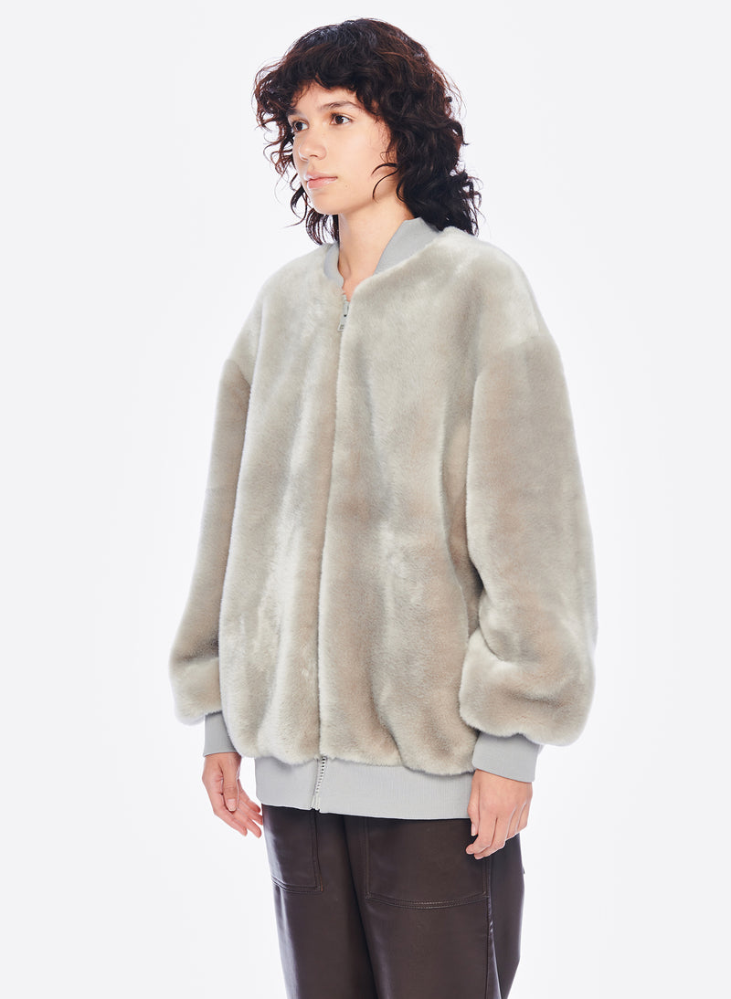 Luxe Faux Fur Track Jacket Grey-2