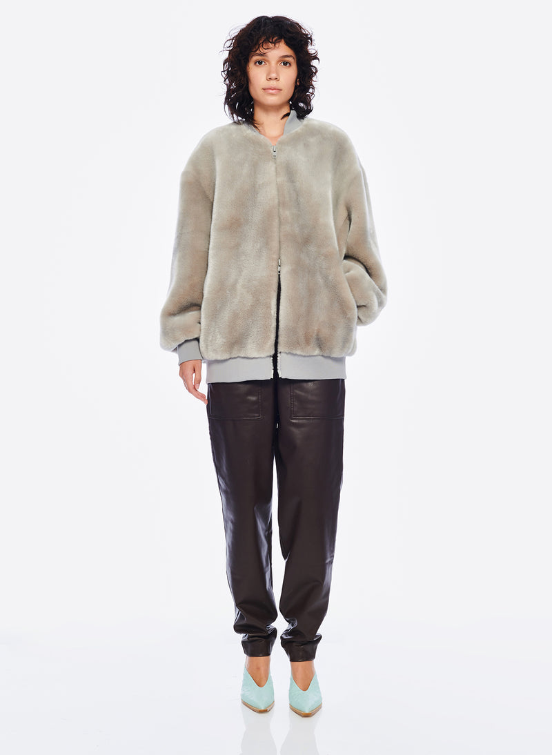 Luxe Faux Fur Track Jacket Grey-4