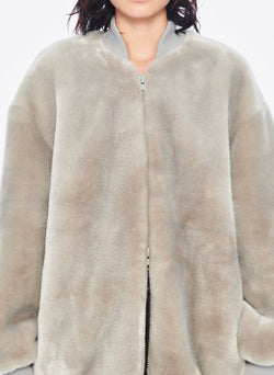 Luxe Faux Fur Track Jacket Grey-5