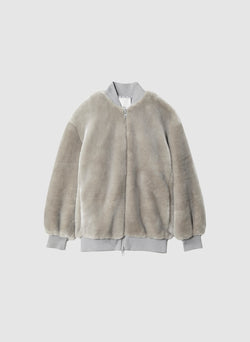 Luxe Faux Fur Track Jacket Grey-8