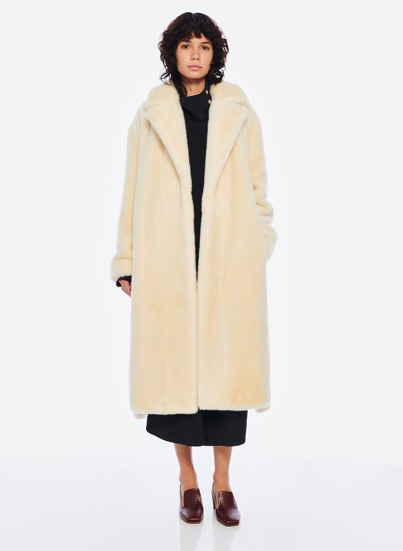 Luxe Faux Fur Oversized Coat Cream-1