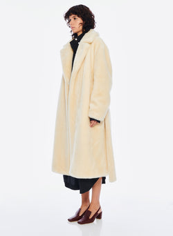 Luxe Faux Fur Oversized Coat Cream-2