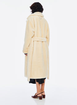 Luxe Faux Fur Oversized Coat Cream-3