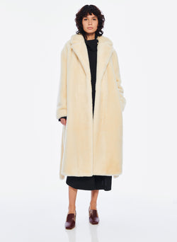 Luxe Faux Fur Oversized Coat Cream-4