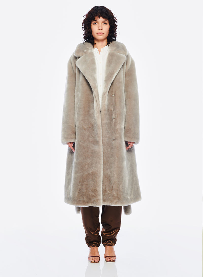 Luxe Faux Fur Oversized Coat Grey-1