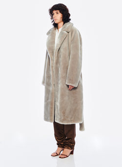 Luxe Faux Fur Oversized Coat Grey-2