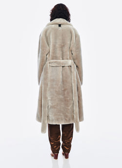 Luxe Faux Fur Oversized Coat Grey-3