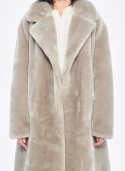 Luxe Faux Fur Oversized Coat Grey-5