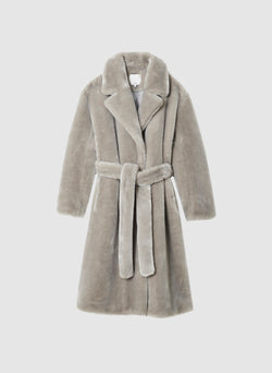 Luxe Faux Fur Oversized Coat Grey-8