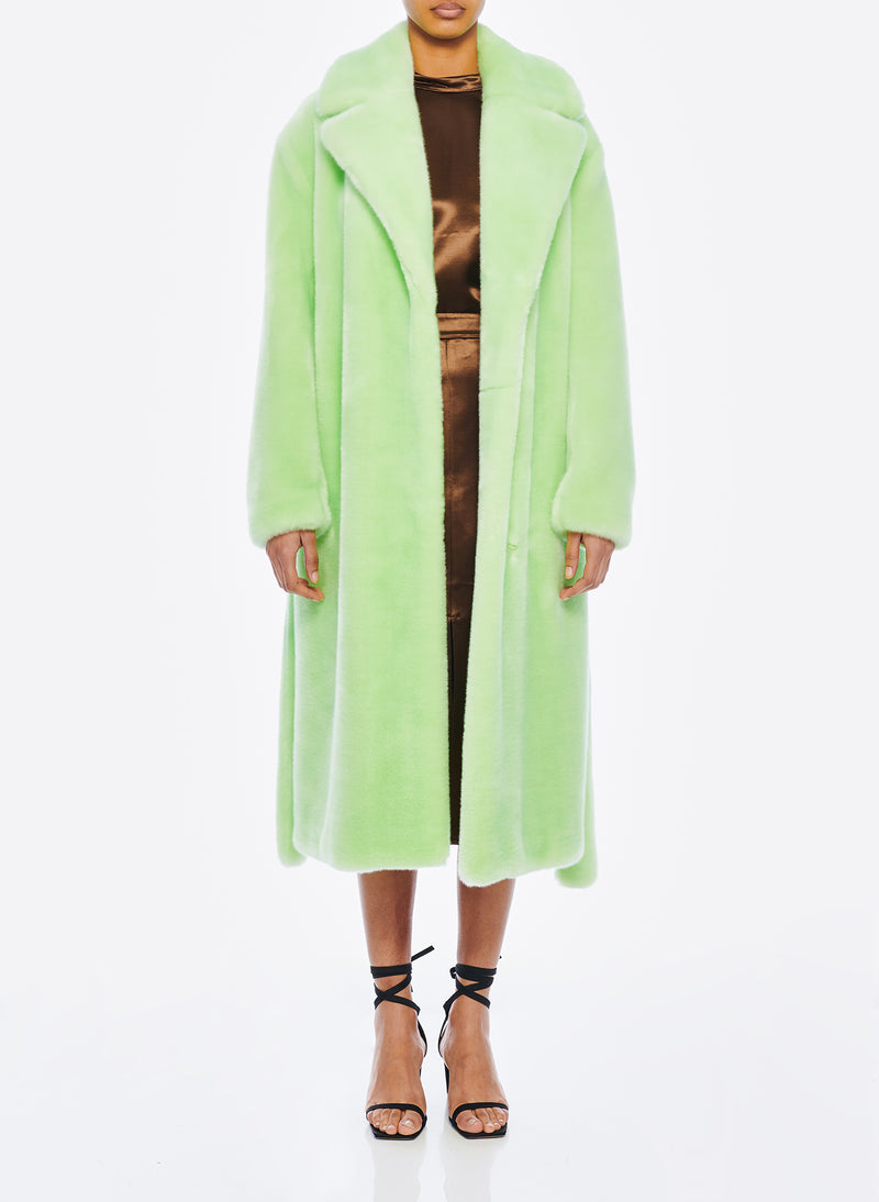 Luxe Faux Fur Oversized Coat Mint-1