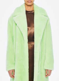 Luxe Faux Fur Oversized Coat Mint-4