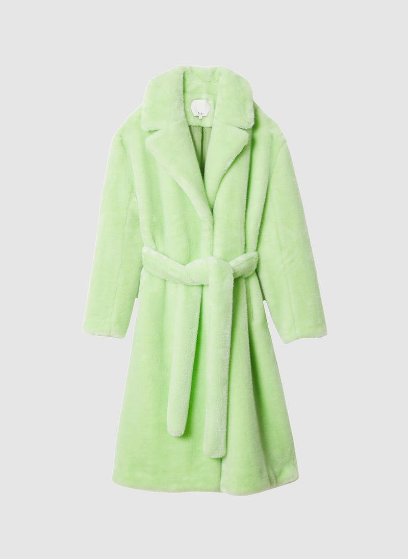 Luxe Faux Fur Oversized Coat Mint-8