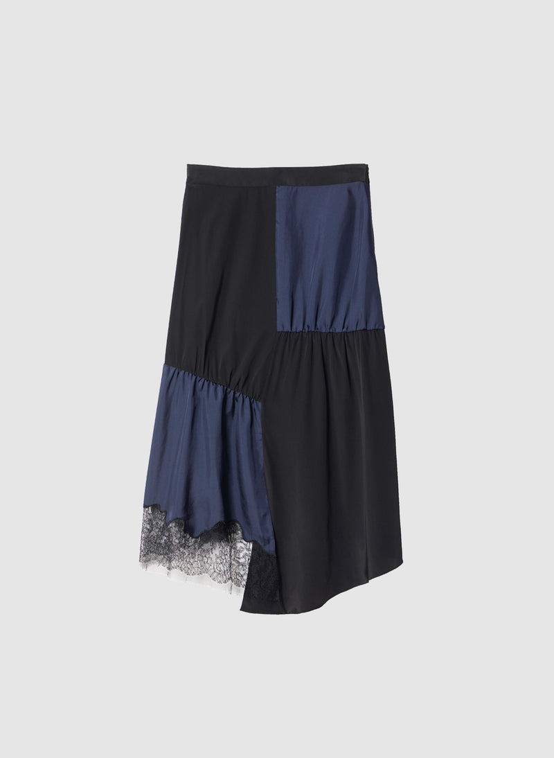 Patchwork Silk Skirt Black/Navy Multi-8