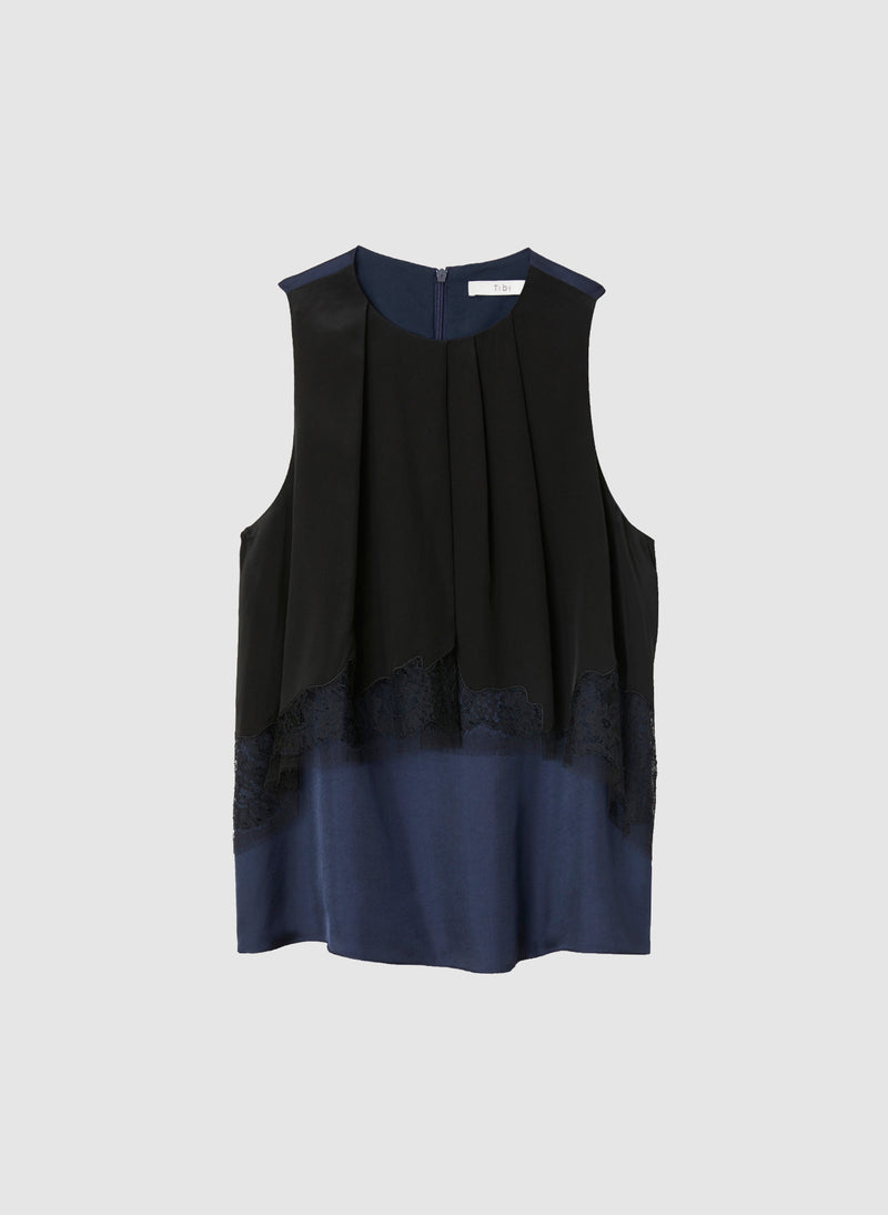 Patchwork Silk Sleeveless Layered Top Black/Navy Multi-8