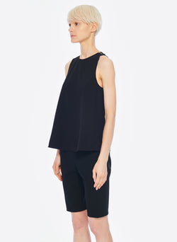 Structured Crepe Tank Black-1