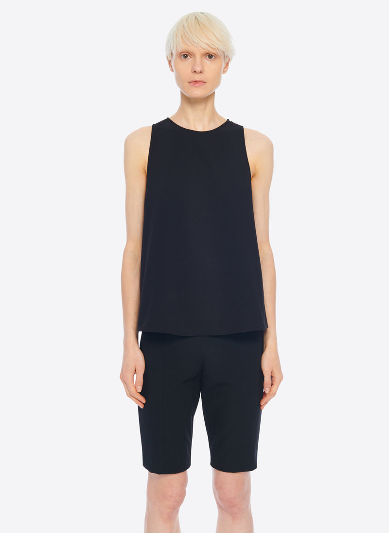 Structured Crepe Tank Black-5