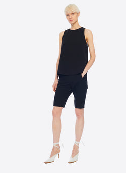 Structured Crepe Tank Black-6