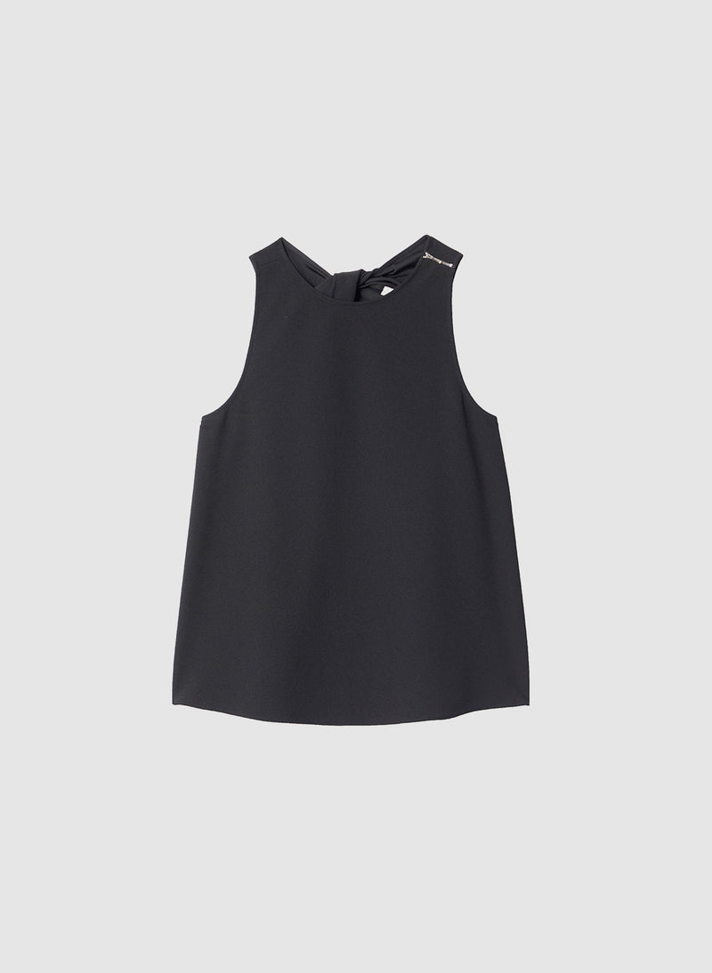 Structured Crepe Tank Black-8