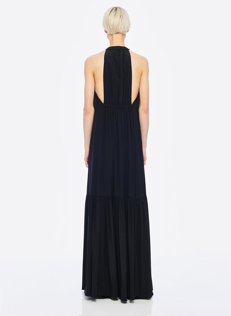 Silk CDC Halter Dress Black-4