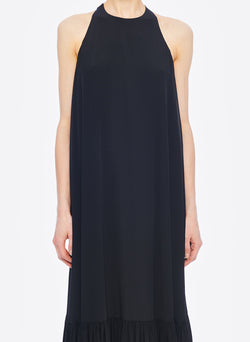 Silk CDC Halter Dress Black-5