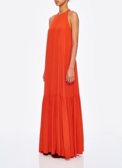 Silk CDC Halter Dress Blood Orange-2