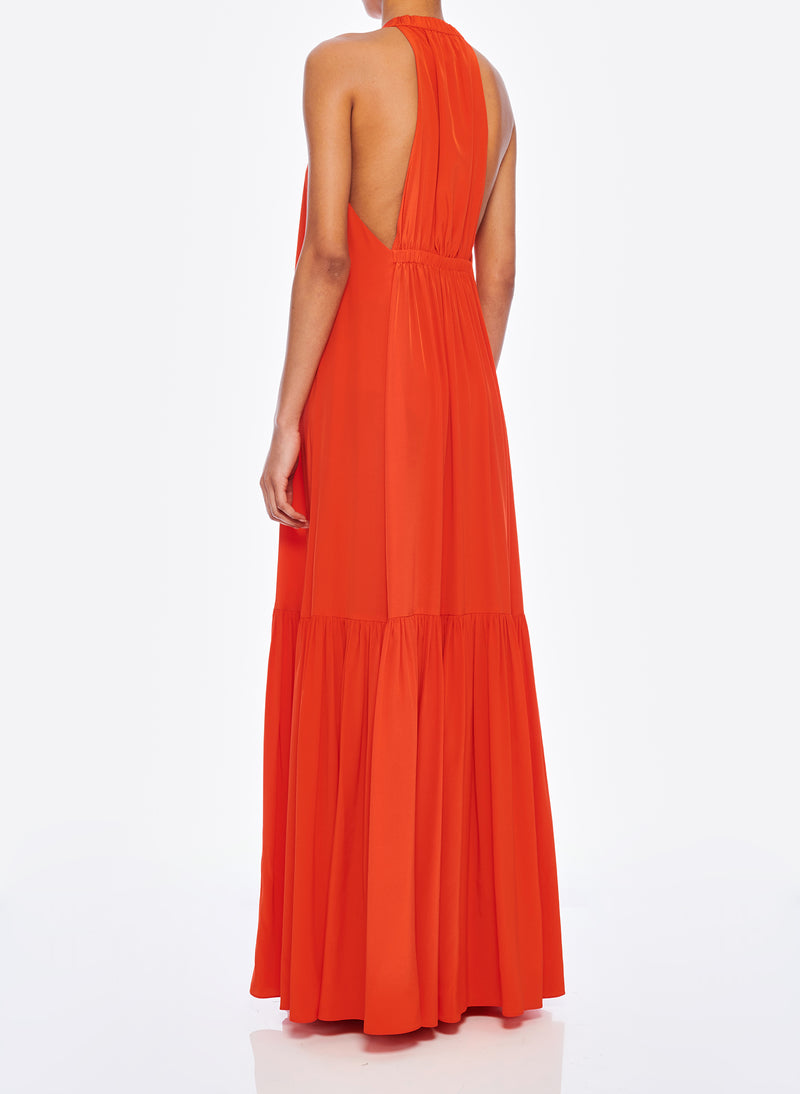 Silk CDC Halter Dress Blood Orange-3