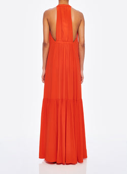 Silk CDC Halter Dress Blood Orange-4