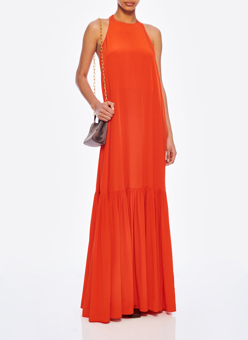 Silk CDC Halter Dress Blood Orange-5