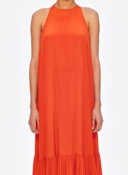 Silk CDC Halter Dress Blood Orange-6