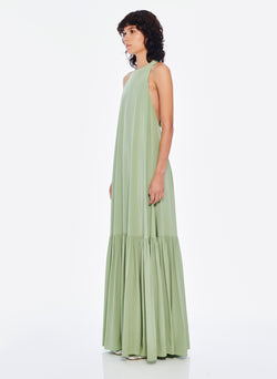 Silk CDC Halter Dress Pistachio-1