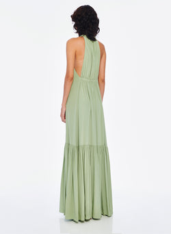 Silk CDC Halter Dress Pistachio-2
