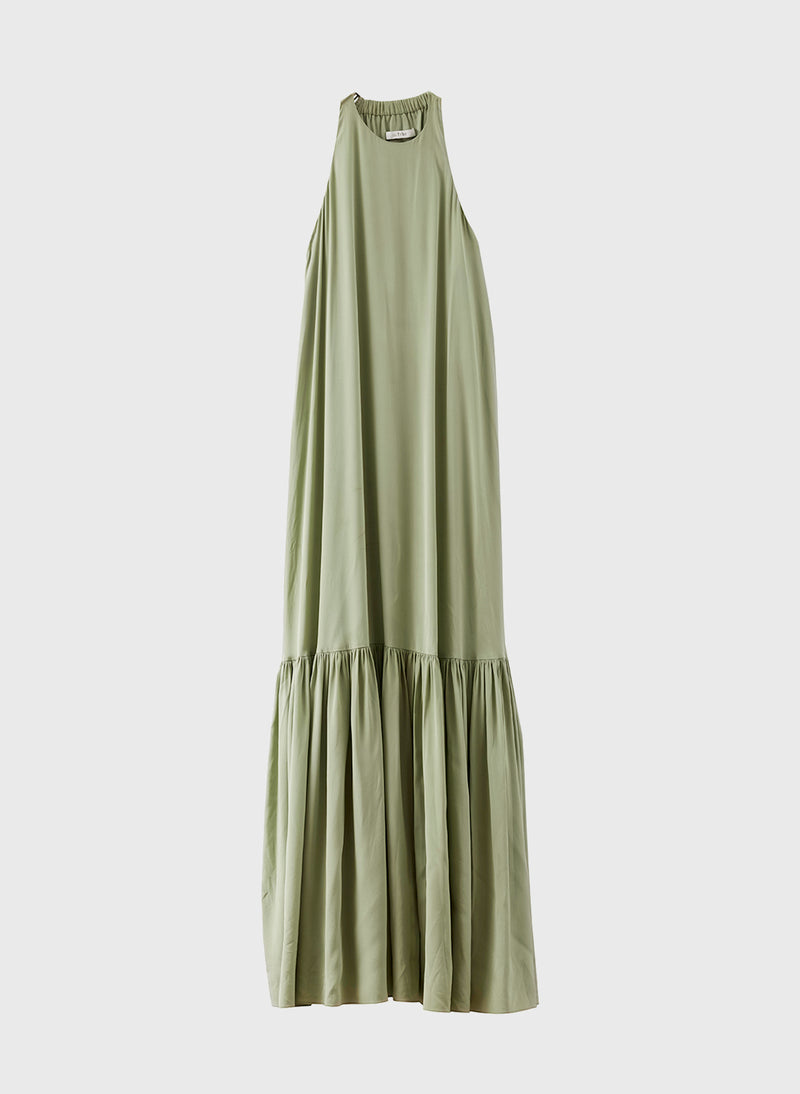 Silk CDC Halter Dress Pistachio-8