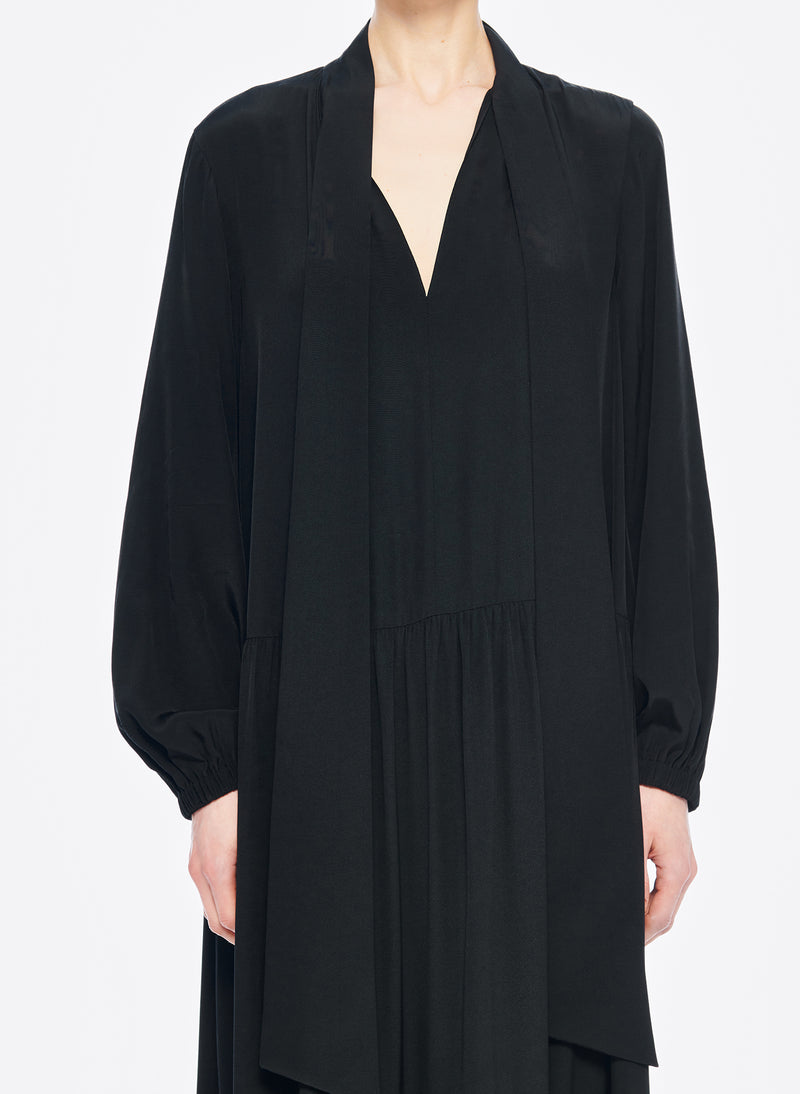 Silk CDC Tie Neck Dress Black-5