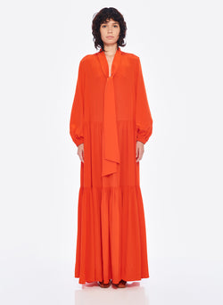 Silk CDC Tie Neck Dress Blood Orange-7