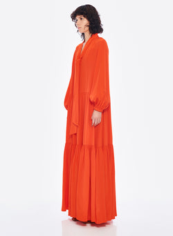 Silk CDC Tie Neck Dress Blood Orange-8